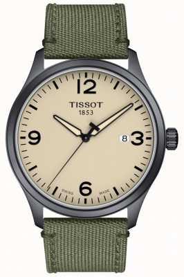 Tissot | Mens XL | Grey Khaki Strap | Beige Dial | T1164103726700