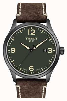 Tissot | Mens XL | Green Dial | Brown Embossed Cow Leather Strap | T1164103609700