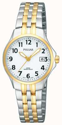 Pulsar Womens Two Tone Stainless Steel Bracelet White Dial PH7222X1