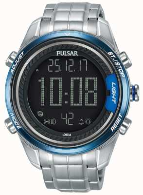 Pulsar Mens Digital Stainless Steel Bracelet P5A003X1