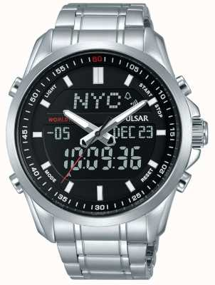 Pulsar Mens Stainless Steel Bracelet Digital Analog Display PZ4021X1