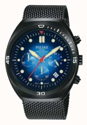 Pulsar Mens Chronograph Black PVD Mesh Extra Leather Strap PT3951X2