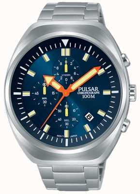 Pulsar Mens Chronograph Blue Dial Stainless Steel Bracelet PM3085X1