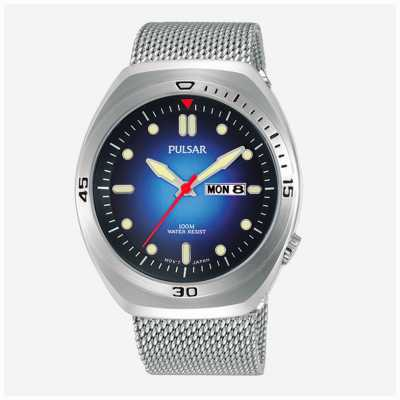 cabc69016 Pulsar Mens Blue Dial Stainless Steel Mesh Extra Leather Strap PJ6097X2