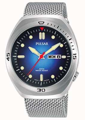 Pulsar Mens Blue Dial Stainless Steel Mesh Extra Leather Strap PJ6097X2