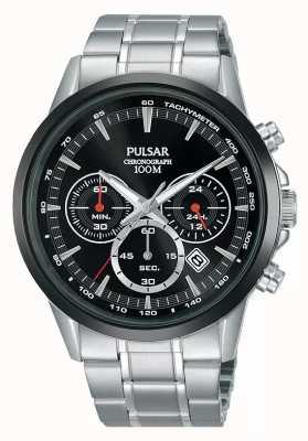 Pulsar Mens Chronograph Black Dial Stainless Steel Bracelet PT3913X1