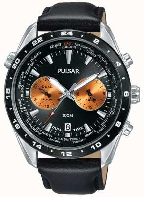 Pulsar Mens Dual Time Black Dial Black Leather Strap PY7015X1