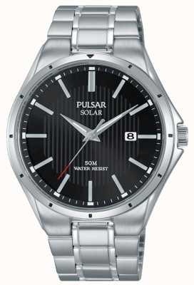 Pulsar Mens Solar Black Dial Stainless Steel Bracelet PX3117X1