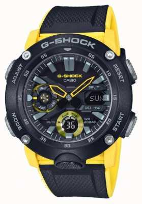 Casio | G-shock Carbon Core Guard | Black Yellow Strap | GA-2000-1A9ER
