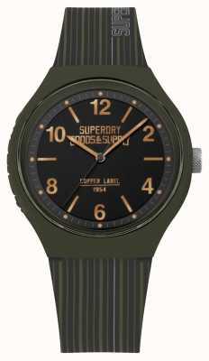 Superdry | Mens Urban XL | Khaki Silicone Strap | Black Dial | SYG252N