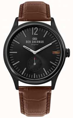 Ben Sherman | Mens Harrison City | Black Dial | Brown Croc Leather | WB035T