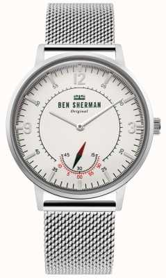 Ben Sherman   Mens Portobello Heritage   Off White Dial   Stainless Mesh WB034SM
