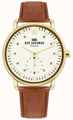Ben Sherman | Mens Brighton City | Brown Leather Strap | White Dial | WB033TG