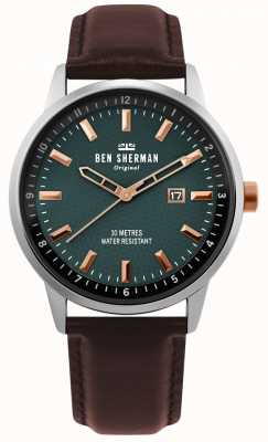 Ben Sherman | Mens Daltrey Professional | Brown Leather | Green Dial | WB030NT