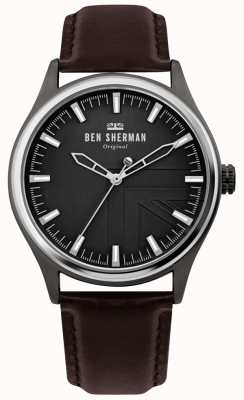 Ben Sherman | Mens Harrison | Brown Leather Strap | Black Dial | WB036T
