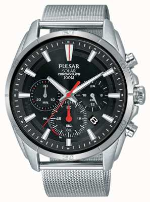 Pulsar | Mens Stainless Steel Mesh | Black Chrongraph | PZ5083X1
