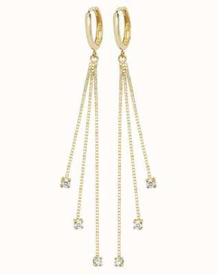 James Moore TH 9k Yellow Gold Drop Chain Cubic Zirconia Earrings ER1120