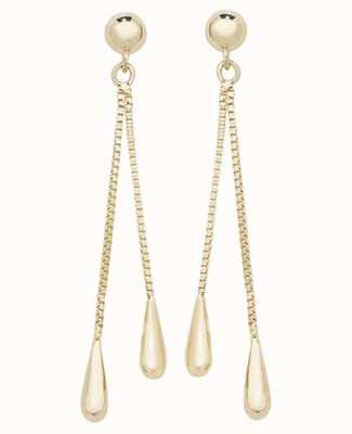 James Moore TH 9k Yellow Gold Drop Teardrop Earrings ES534