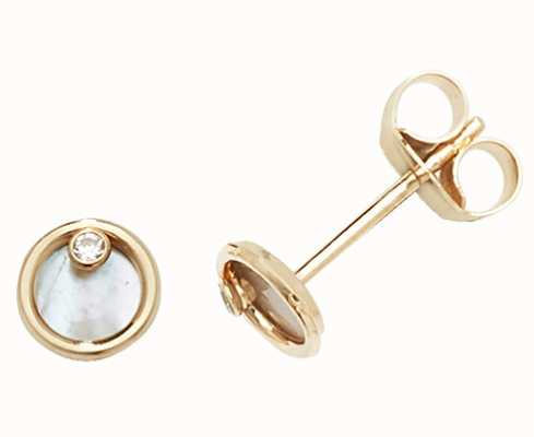 James Moore TH 9k Yellow Gold Mother Of Pearl Stud Earrings ES619