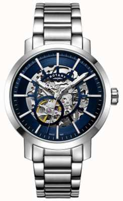 Rotary | Mens Greenwich Skeleton | Stainless Steel Bracelet | GB05350/05