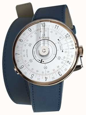 Klokers KLOK 08 White Watch Head Indigo Blue Double Strap KLOK-08-D1+KLINK-02-380C3