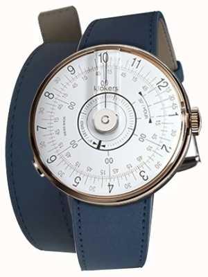 Klokers KLOK 08 White Watch Head Indigo Blue 420mm Double Strap KLOK-08-D1+KLINK-02-420C3