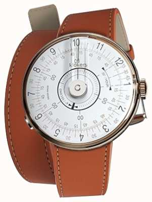 Klokers KLOK 08 White Watch Head Orange 420mm Double Strap KLOK-08-D1+KLINK-02-420C8