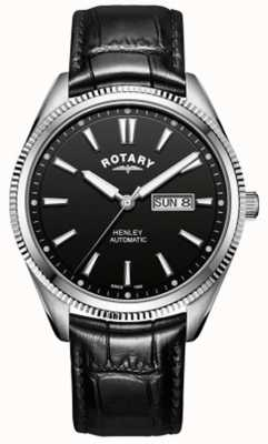 Rotary | Men's Henley | Serrated Bezel | Black Dial | Black Leather GS05380/04