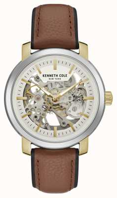 Kenneth Cole | Mens Automatic | Brown Leather | Silver Skeleton Dial | KC50776005