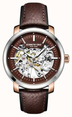 Kenneth Cole | Mens Automatic | Dark Brown Leather Strap | Brown Dial | KC50776003