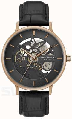 Kenneth Cole   Mens Automatic   Rose Gold Case   Black Leather   KC50780001