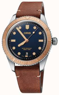 Oris | Divers Sixty-Five | Dark Brown Leather | Blue Dial | 01 733 7707 4355-07 5 20 45