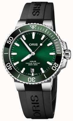Oris | Aquis Date | Black Rubber Strap | Green Dial | 01 733 7732 4157-07 4 21 64FC