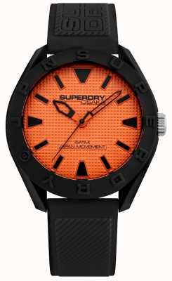 Superdry | Mens Osaka | Black Silicone Strap | Orange Dial | SYG243BO