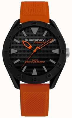 Superdry | Mens Osaka | Orange Silicone Strap | Black Dial | SYG243OB