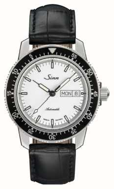 Sinn 104 St Sa I W Classic Pilot Watch Alligator Embossed Leather 104.012 BLACK EMBOSSED LEATHER BLACK STITCHING