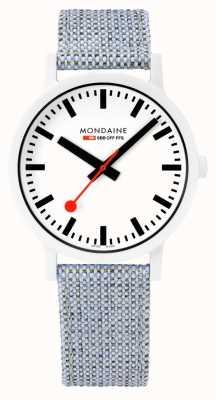 Mondaine | Essence | Blue Textile Strap | White Dial | White Case | MS1.41110.LD