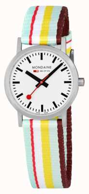 Mondaine | Classic 30mm | Yellow Striped Textile Strap | White Dial | A658.30323.16SBK
