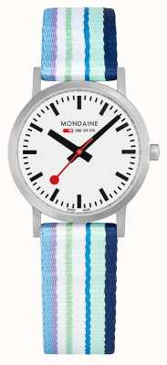 Mondaine | Classic 30mm | Blue Striped Textile Strap | White Dial | A658.30323.16SBP