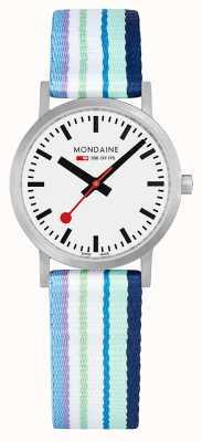 Mondaine | Classic 30mm | Blue Striped Textile Strap | White Dial | A658.30323.16SBP