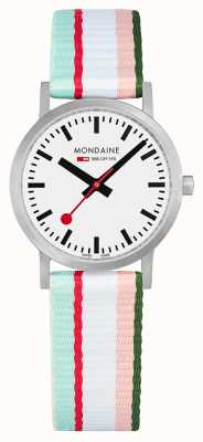 Mondaine | Classic 30mm | Pink Striped Textile Strap | White Dial | A658.30323.16SBS