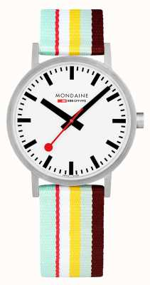 Mondaine | Classic 40mm | Yellow Striped Textile Strap | White Dial | A660.30360.16SBK