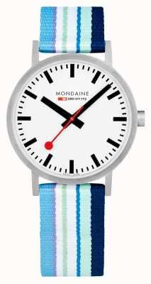 Mondaine | Classic 40mm | Blue Striped Textile Strap | White Dial | A660.30360.16SBP