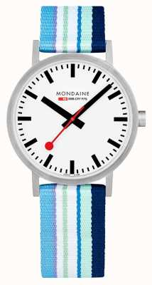 Mondaine | Classic 40mm | Blue Striped Textile Strap | White Dial | A660.30360.16SBP