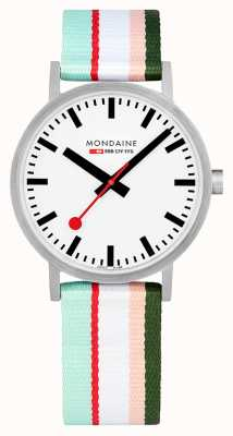 Mondaine | Classic 40mm | Pink Striped Textile Strap | White Dial | A660.30360.16SBS