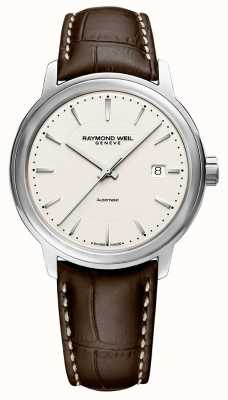 Raymond Weil | Mens Maestro | Brown Leather Strap | Silver Dial | 2237-STC-65011