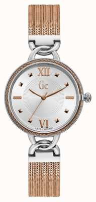 Gc | Cablechic | Rose Gold Stainless Steel Mesh | Silver Dial Y49002L1MF