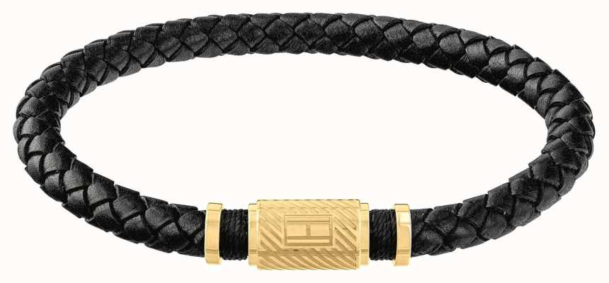 Tommy Hilfiger | Mens Black Braided Leather Bracelet | Gold Clasp | 2790082