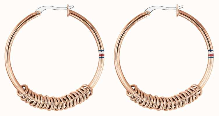 Tommy Hilfiger Womens Rose Gold Logo Hoop Earrings 2780216