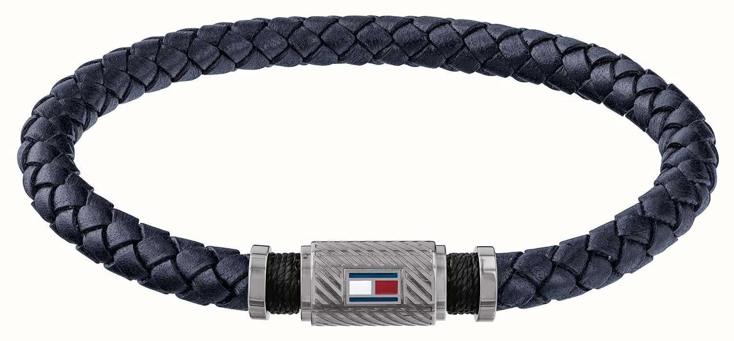88c161c5d2d19 Tommy Hilfiger Jewellery Mens Gun Metal Tube Magnet Blue Braided Leather  Bracelet